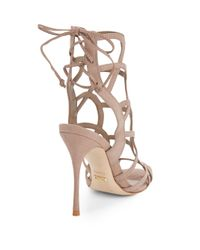 Schutz - Natural Joelle Suede Caged Open-toe Sandals - Lyst
