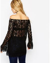ASOS | Natural Tunic Top With Off Shoulder In Pretty Lace | Lyst