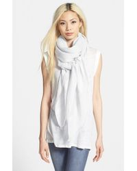 Halogen | White 'lightness' Linen Blend Scarf | Lyst