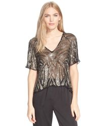 Parker | Metallic 'lucas' Sheer Embellished Silk Top | Lyst