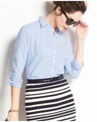 Ann Taylor - Blue Petite Striped Perfect Long Sleeve Shirt - Lyst