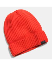 COACH | Orange Cashmere Knit Ribbed Beanie for Men | Lyst