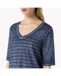 Tommy Hilfiger | Blue Cotton Blend T-shirt | Lyst