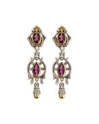 Konstantino | Purple Silver & 18k Gold Rhodolite Dangle Earrings | Lyst