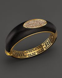 Roberto Coin | Metallic 18k Yellow Gold Plated Bangle With Brown Diamonds | Lyst