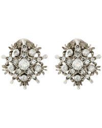 Oscar de la Renta | Metallic Silver-Plated Crystal Earrings | Lyst