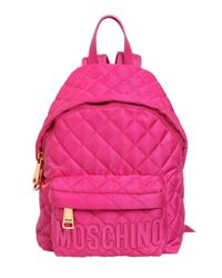 Moschino | Pink Small Quilted Nylon Backpack With Logo | Lyst