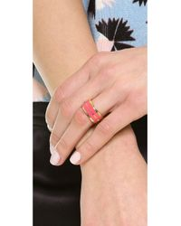 Marc By Marc Jacobs - Red Enamel Plaque Ring Black - Lyst