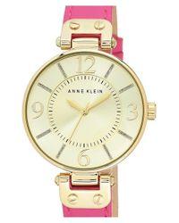 Anne Klein - Metallic Glitter Index Leather Strap Watch - Lyst