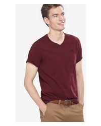 Express - Red Space Dyed Small Lion V-neck Tee for Men - Lyst