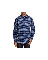 Psycho Bunny - Gray Flannel Plaid Regular Fit Button Down Shirt for Men - Lyst