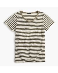J.Crew - Green Striped Pocket T-shirt With Metallic Trim - Lyst