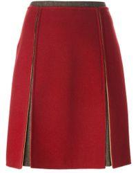 Etro - Red A-line Slit Skirt - Lyst