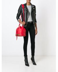 Moschino Black Leather Bucket Bag - Red