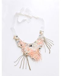 Patrizia Pepe | Pink Costume Jewellery Necklace With Hand Embroidery | Lyst