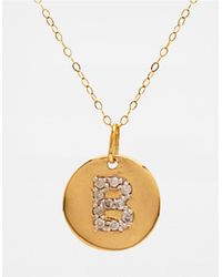 Lord & Taylor | Metallic 14 Kt. Yellow Gold And Diamond B Pendant Necklace | Lyst