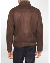 Calvin Klein | Brown White Label Ultra-suede Shearling Lined Bomber Jacket | Lyst