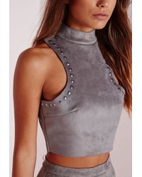 Missguided | Gray Stud Faux Suede Crop Top Grey | Lyst