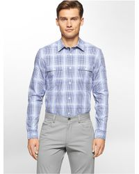 Calvin Klein | Blue Classic Fit Dobby Plaid Liquid Cotton Shirt for Men | Lyst