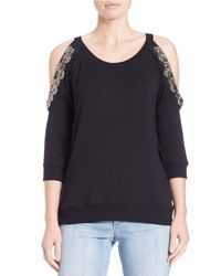 Jessica Simpson | Black Embroidered Cold-shoulder Top | Lyst