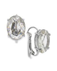 Lauren by Ralph Lauren - Metallic Silvertone Crystal Stone Oval Drop Earrings - Lyst