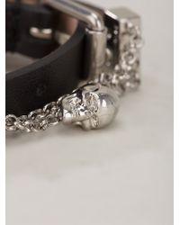Alexander McQueen - Black Chain Skull Wrap Bracelet - Lyst