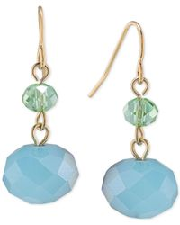 Carolee | Metallic Gold-tone Blue Bead Drop Earrings | Lyst