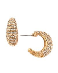 Kenneth Jay Lane - Metallic Striped Pave Crystal Huggie Earrings - Lyst
