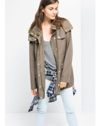 Mango - Natural Military Style Tencel Parka - Lyst
