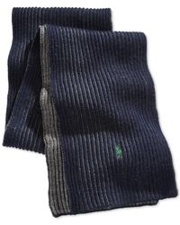 Polo Ralph Lauren - Blue Merino Wool Ribbed Scarf for Men - Lyst