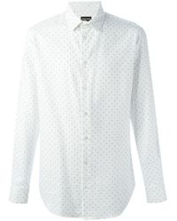 Emporio Armani - White Micro Dot Pattern Shirt for Men - Lyst
