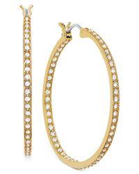 Swarovski - Metallic Earring, 22k Gold-plated Crystal Somerset Hoop Earrings - Lyst