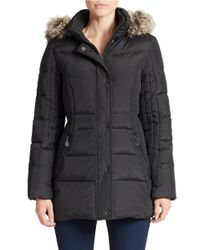 Anne Klein | Black Faux Fur-trimmed Quilted Coat | Lyst