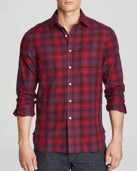 Shipley & Halmos - Red Marine Check Sport Shirt  Slim Fit for Men - Lyst