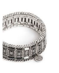 Philippe Audibert - Metallic Engraved Rhinestone Elasticated Bracelet - Lyst