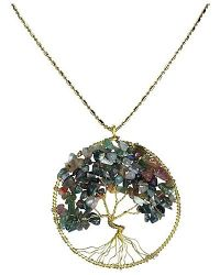 Aeravida | Metallic Seven Color Jade Stone Eternal Tree Of Life Brass Long Necklace | Lyst