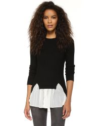 Top Secret - Black Chiffon Ruffle Sweater - Lyst