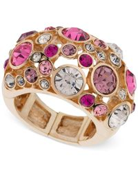 Guess | Metallic Gold-tone Fireball Pink And Lilac Crystal Stretch Ring | Lyst