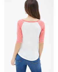 Forever 21 | Pink Heathered Baseball Tee | Lyst