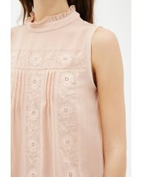 Forever 21 - Pink Contemporary Floral-embroidered Pleated Top You've Been Added To The Waitlist - Lyst