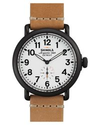 Shinola - Natural 'the Runwell' Leather Strap Watch - Lyst