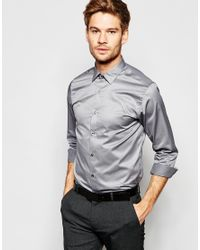 SELECTED | Gray Long Sleeve Smart Shirt In 100% Cotton In Regular Fit for Men | Lyst