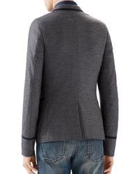 Gucci - Gray Contrast Trim Wool-blend Blazer for Men - Lyst