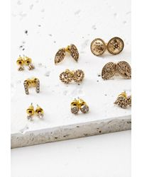 Forever 21 - Metallic Etched Rhinestone Stud Set - Lyst