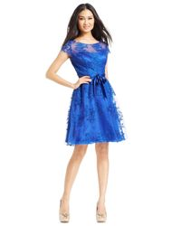 Marina - Blue Cap-Sleeve Lace Cocktail Dress - Lyst