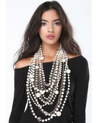 Bebe - Metallic Pearlescent Chunky Necklace - Lyst