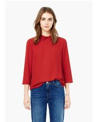 Mango - Red Pleated Neck Blouse - Lyst