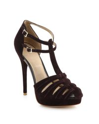 Joie - Purple Rexanne T-strap Suede Platform Heels - Lyst