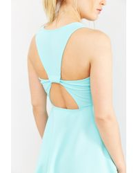 Kimchi Blue - Green Textured Knit V-neck Skater Dress - Lyst