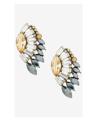 Express - Gray Mixed Stone Post Earrings - Lyst